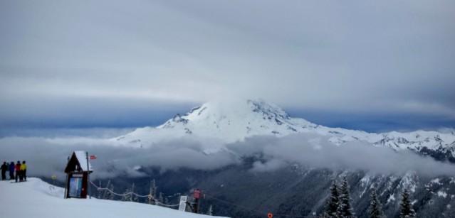 Mount Rainier makes a brief appearance.