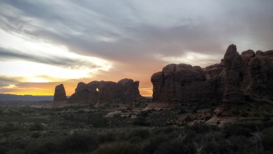 Sunset in the Windows section of Arches National Park.