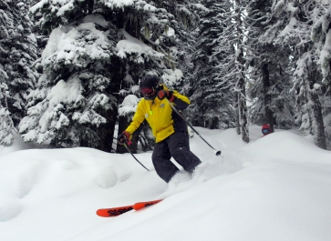The friskiest 74-year-old skier in Canada, Carlan Silha at Big White.